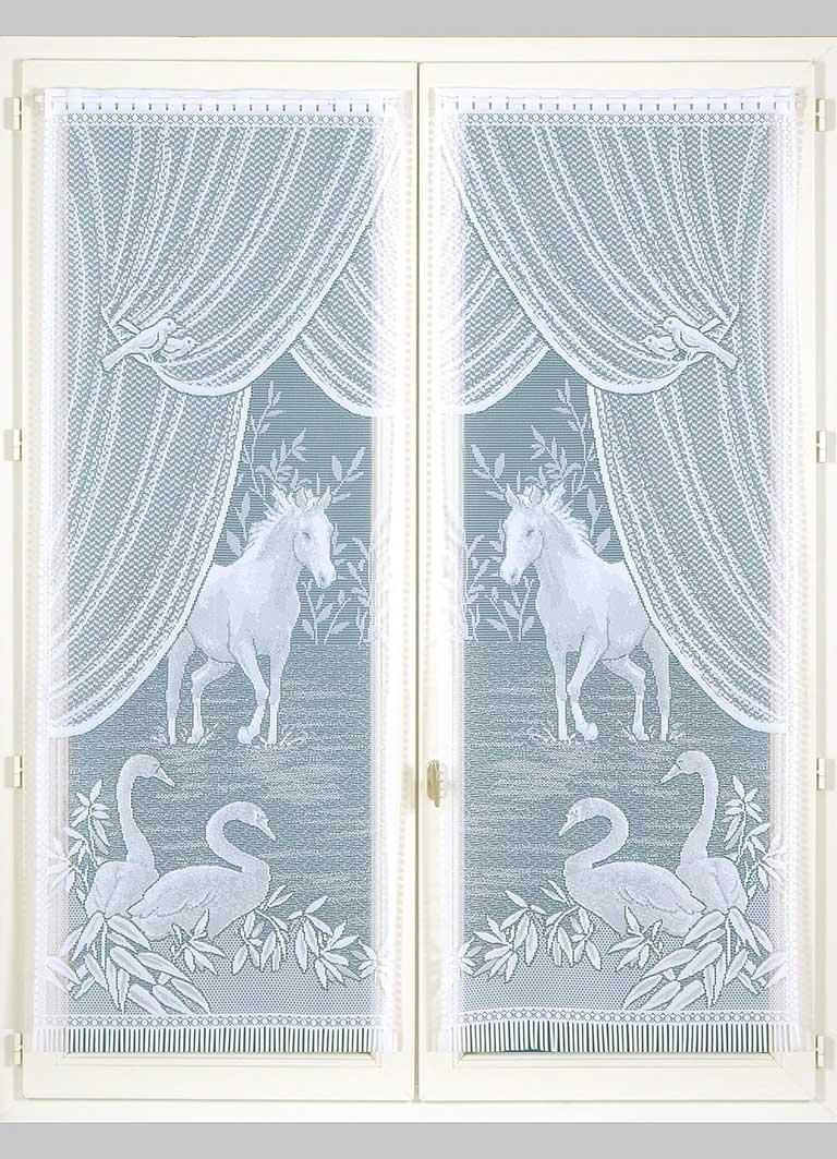 Paire de vitrages Esprit Equestre - Blanc - 60 x 120 cm