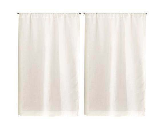 Paire de Vitrages Unis en Etamine - Blanc - 55 x 90 cm