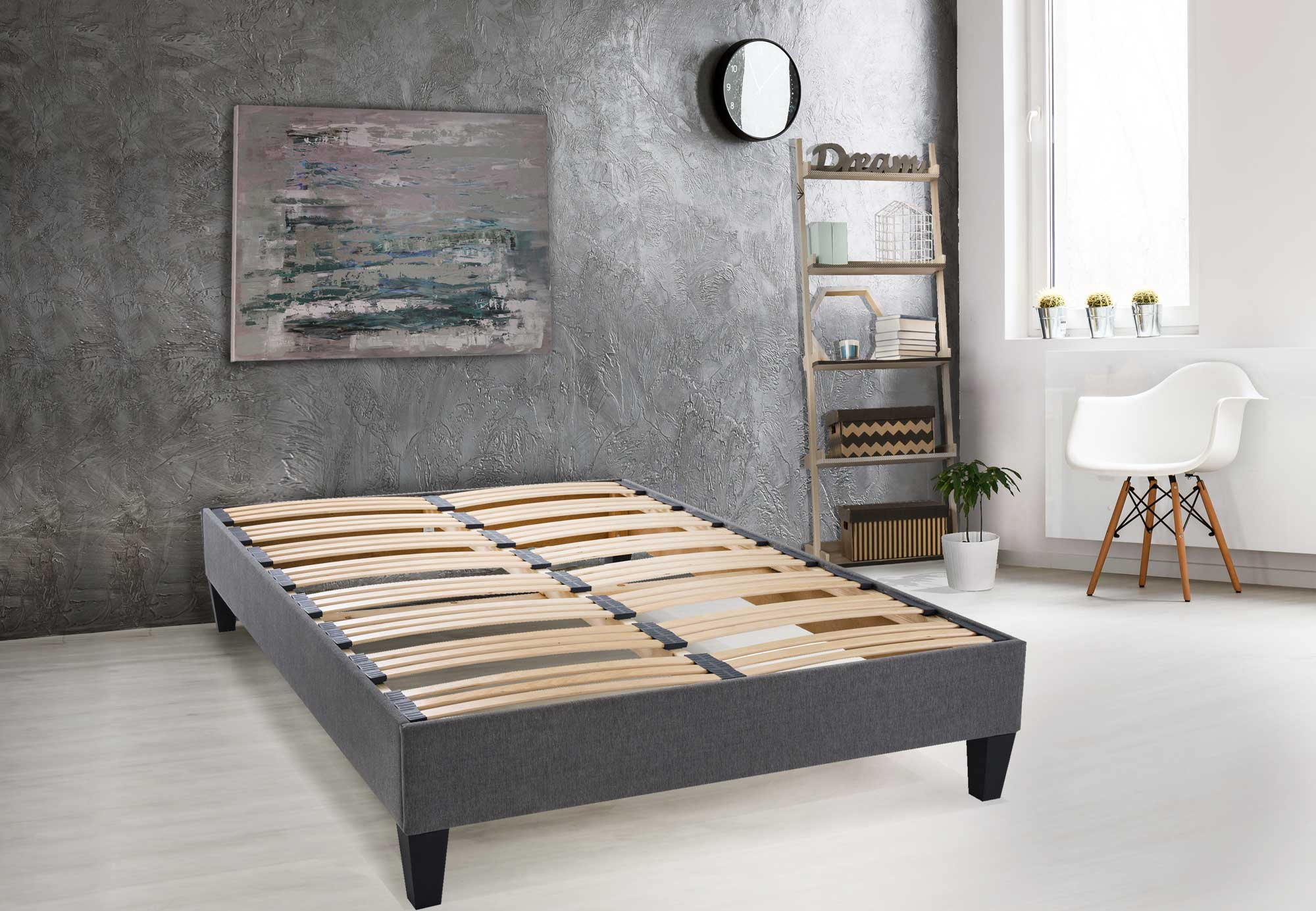 sommier en kit avec une ep 20 cm gris homemaison vente en ligne matelas. Black Bedroom Furniture Sets. Home Design Ideas