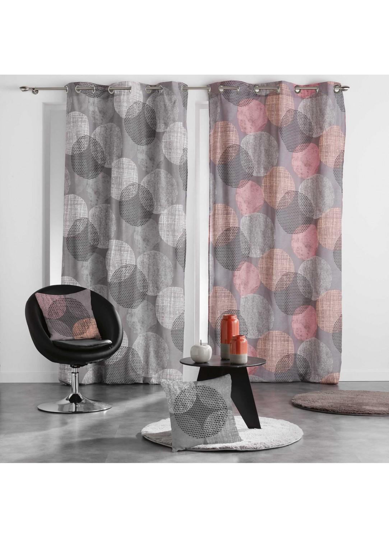 rideau pois entrem l s corail gris homemaison vente en ligne rideaux. Black Bedroom Furniture Sets. Home Design Ideas