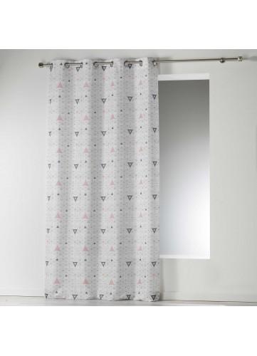 Rideau en Microfibre Imprimé Triangles - Blanc - 140 x 280 cm