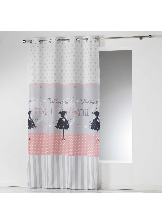 Rideau imprim fashionista blanc gris sans homemaison vente en ligne tous les rideaux for Rideaux imprimes