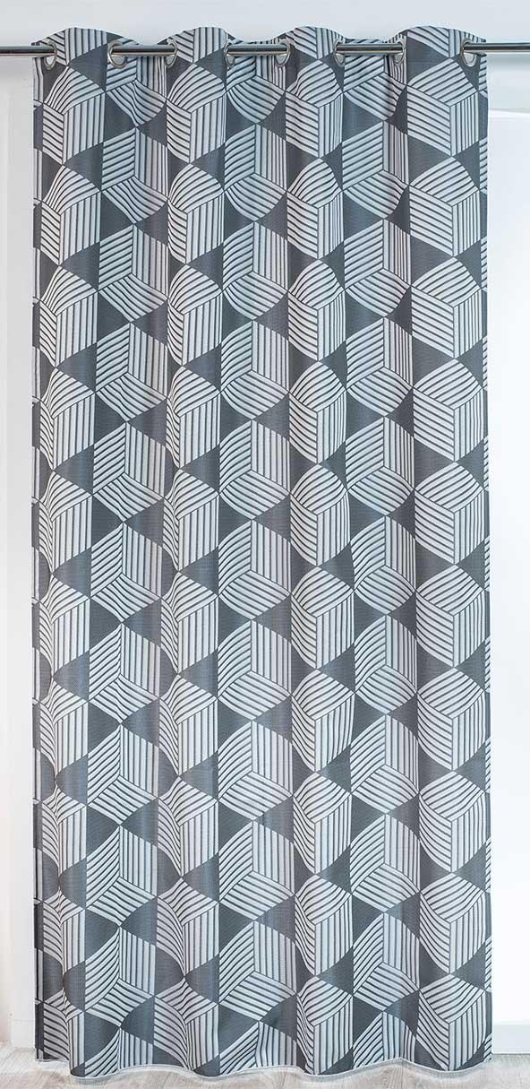 rideau d co madrid formes g om triques taupe beige gris homemaison vente en. Black Bedroom Furniture Sets. Home Design Ideas