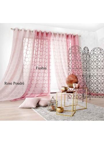 Voilage à Motifs Géométriques - ROSE POUDRE - 140 x 280 cm