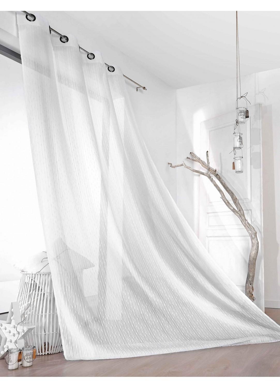 Voilage Rayures Verticales à Effet Bouchonné (Blanc)