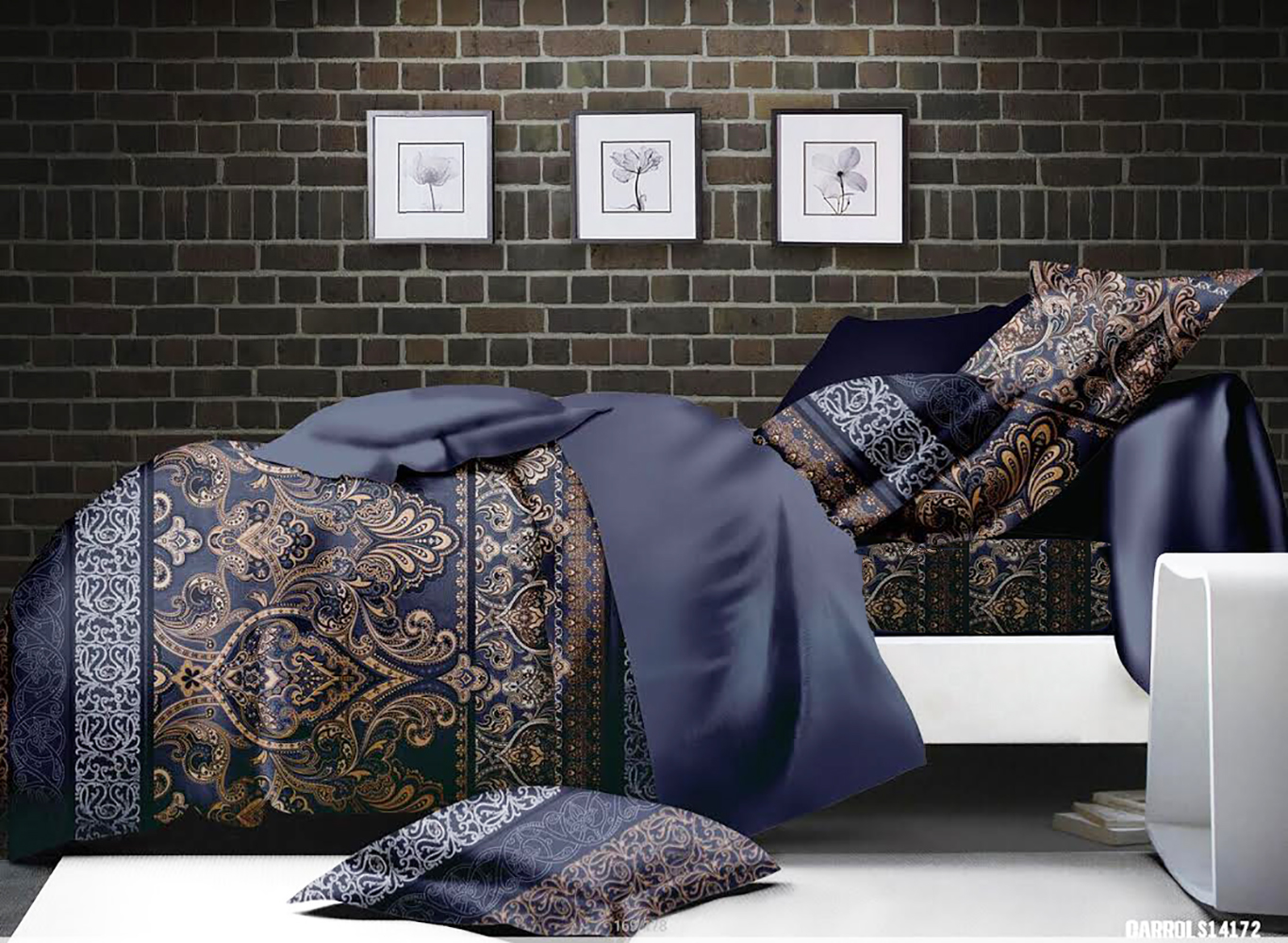parure de draps au style baroque bleu homemaison. Black Bedroom Furniture Sets. Home Design Ideas