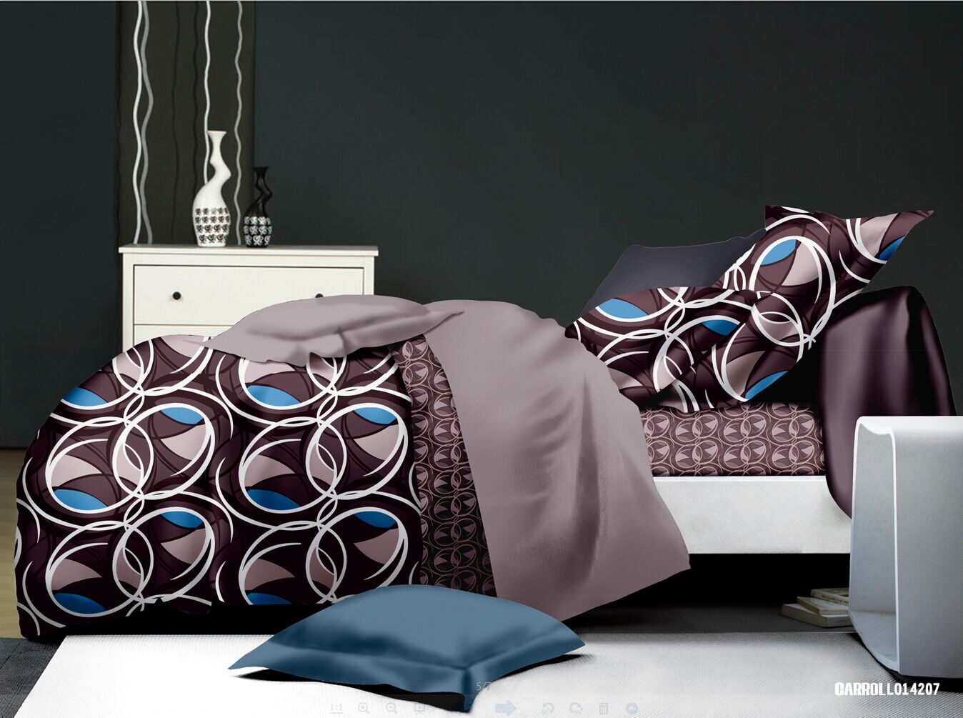 parure de draps imprim s sixties chocolat homemaison vente en ligne parures de lit. Black Bedroom Furniture Sets. Home Design Ideas