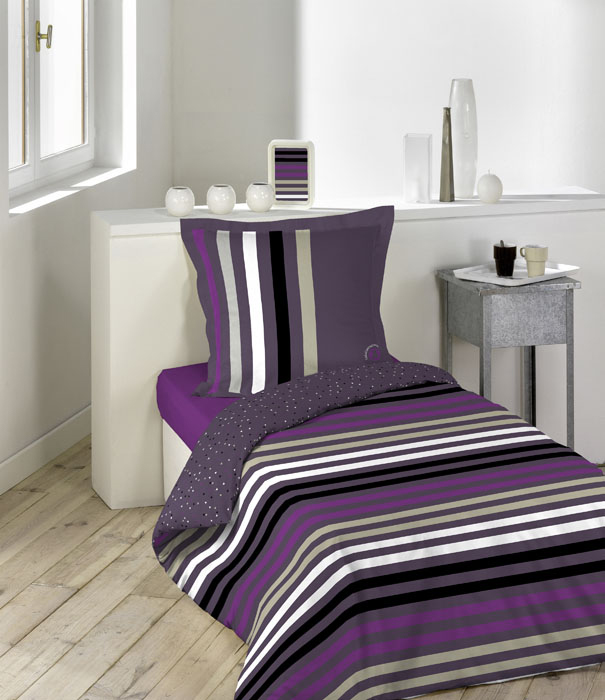 parure de couette 140x200cm lulu trendy violet homemaison vente en ligne parures de lit. Black Bedroom Furniture Sets. Home Design Ideas