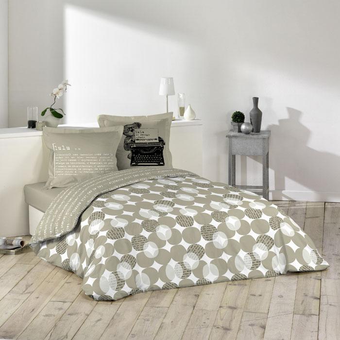 parure de couette 240x220cm lulu word beige homemaison vente en ligne parures de lit. Black Bedroom Furniture Sets. Home Design Ideas