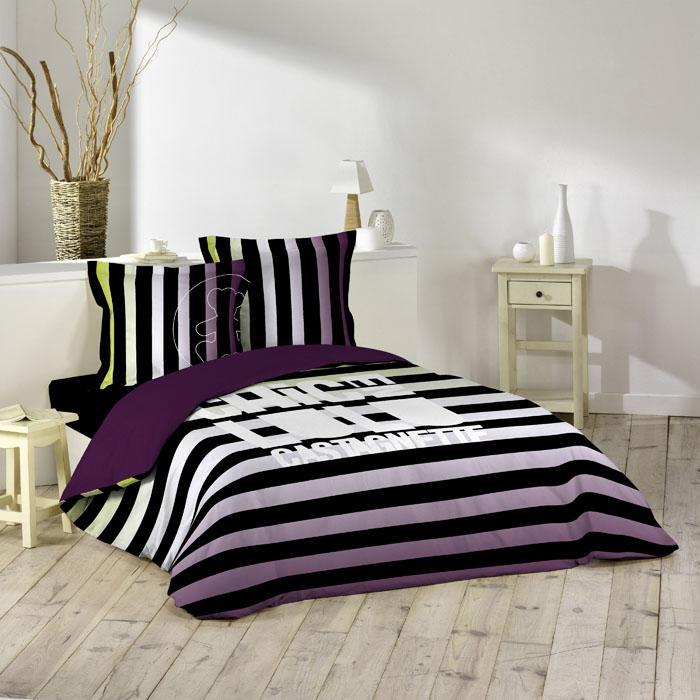 parure de couette 240x220cm lulu arty violet homemaison vente en ligne parures de lit. Black Bedroom Furniture Sets. Home Design Ideas