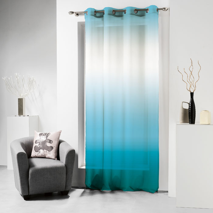 Voilage oeillets 140x240 lulu tie and dye turquoise prune anthracite homemaison for Rideau turquoise