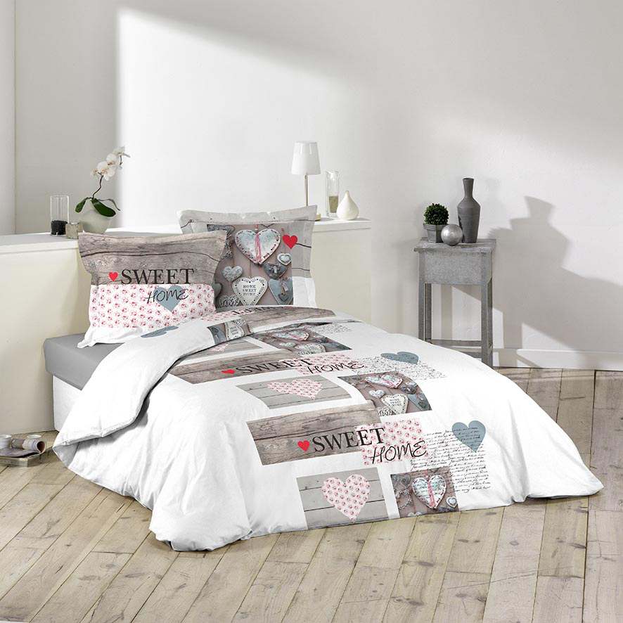 parure de couette 100 coton 57 fils 240x220 sweet home blanc gris homemaison vente en. Black Bedroom Furniture Sets. Home Design Ideas