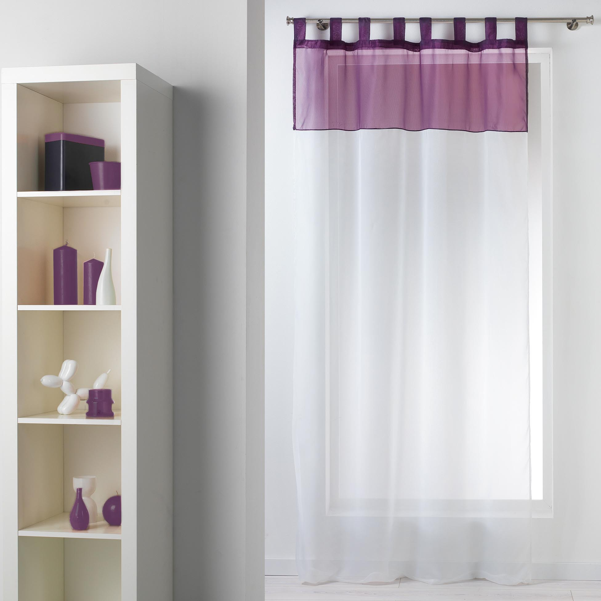 voilage bicolore passants aubergine noir taupe gris homemaison vente en ligne. Black Bedroom Furniture Sets. Home Design Ideas