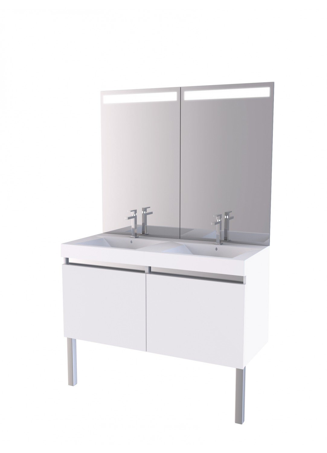 meuble de salle de bain et miroir int gral britty 130 blanc ch ne homebain vente en. Black Bedroom Furniture Sets. Home Design Ideas