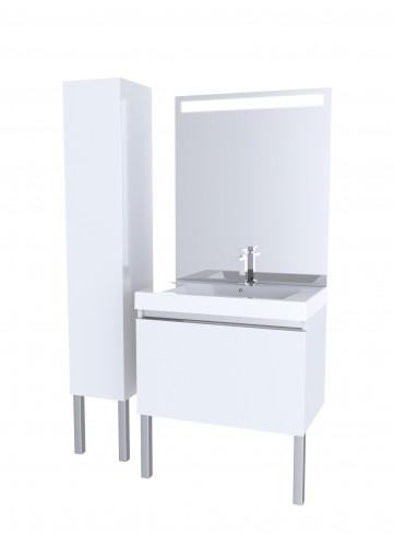 Meubles de salle de bain blancs cr mes homebain for Miroir salle de bain 90 x 80