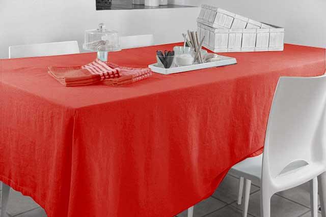 Nappe Rectangulaire en 100% Lin - Rouge - 300 x 170 cm