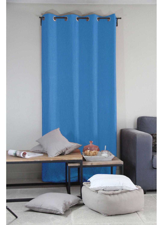 rideau uni en 100 lin riviera rouge ocean homemaison vente en ligne rideaux. Black Bedroom Furniture Sets. Home Design Ideas