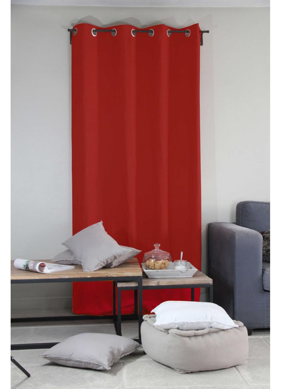 rideau uni en 100 lin rouge riviera ocean homemaison vente en ligne rideaux. Black Bedroom Furniture Sets. Home Design Ideas