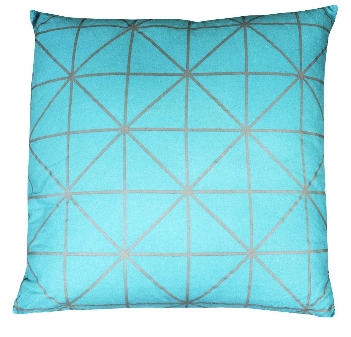 Coussin en Toile de Coton Imprimée Design - Turquoise - 060 x 060 cm. Coussin vendu à l'unitéMatière : toile de cotonCoule