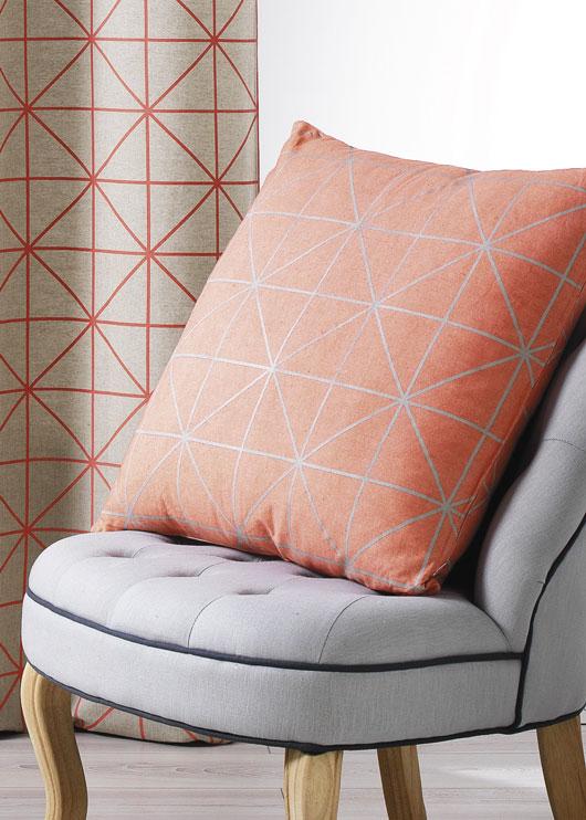 Coussin en Toile de Coton Imprimée Design (Corail)