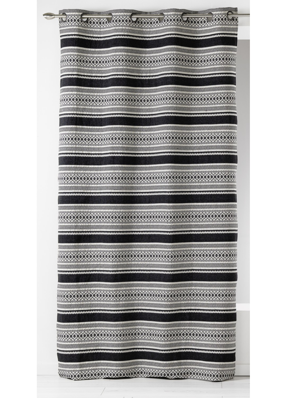 rideau en jacquard rayures horizontales ethniques noir homemaison vente en ligne rideaux. Black Bedroom Furniture Sets. Home Design Ideas