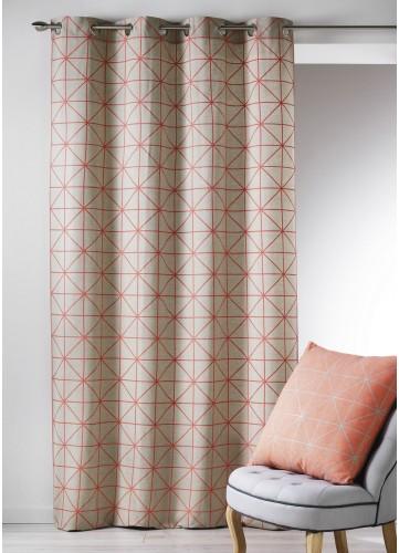 Rideau en Toile de Coton aux Imprimés Design (Corail)