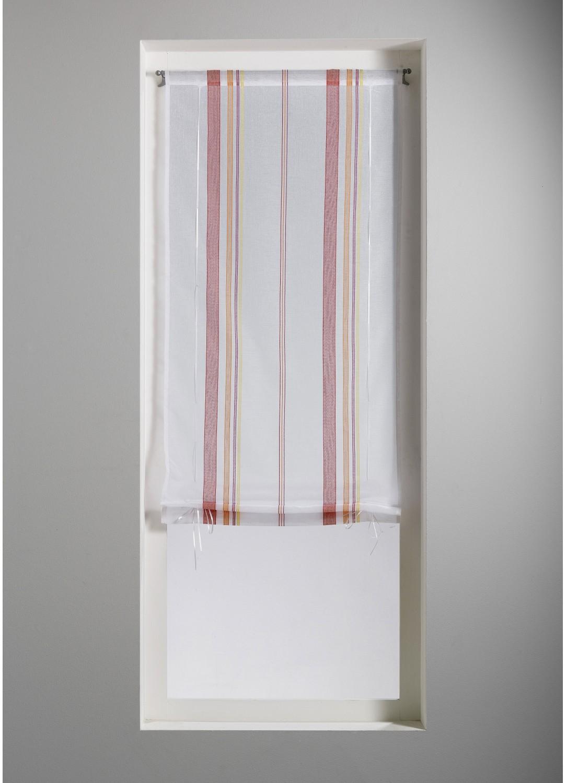 Store Voilage en Etamine à Rayures Verticales Fantaisies (Multicolore)