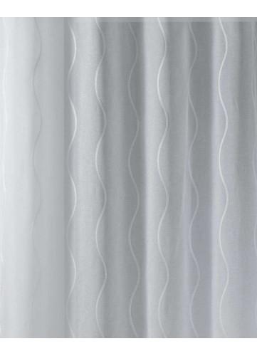 Tissu en Etamine Brodée à Rayures Verticales Ondulées
