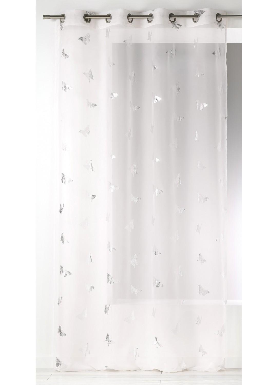 Visillo estampados mariposas plateadas blanco for Cortina visillo blanco
