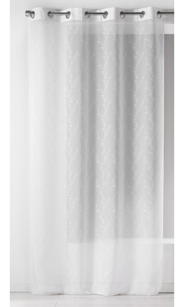 Voilage en Etamine Brodée à Imprimés Fleuris (Blanc)
