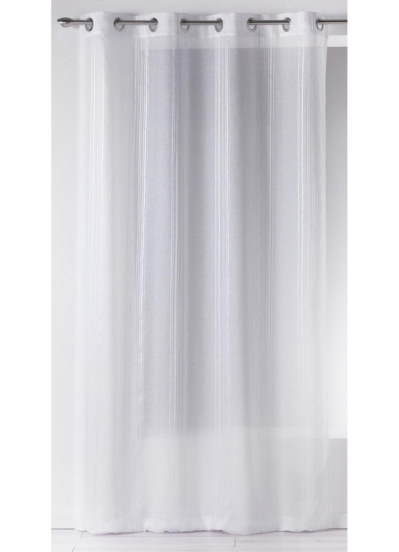 Voilage en Etamine à Fines Rayures Verticales ton sur ton (Blanc)