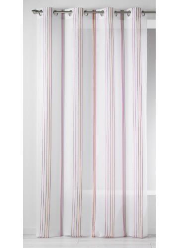 Voilage en Etamine à Fines Rayures Verticales (Multicolore)