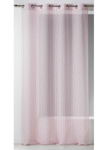 Voilage en Etamine à Imprimés Cubiques - Rouge - 140 x 240 cm