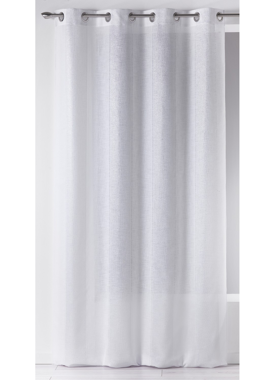 Voilage en Etamine à Rayures Verticales en Lurex (Blanc)