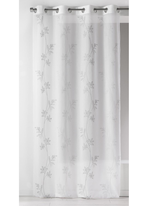 voilage fantaisie imprim s floraux gris anis. Black Bedroom Furniture Sets. Home Design Ideas