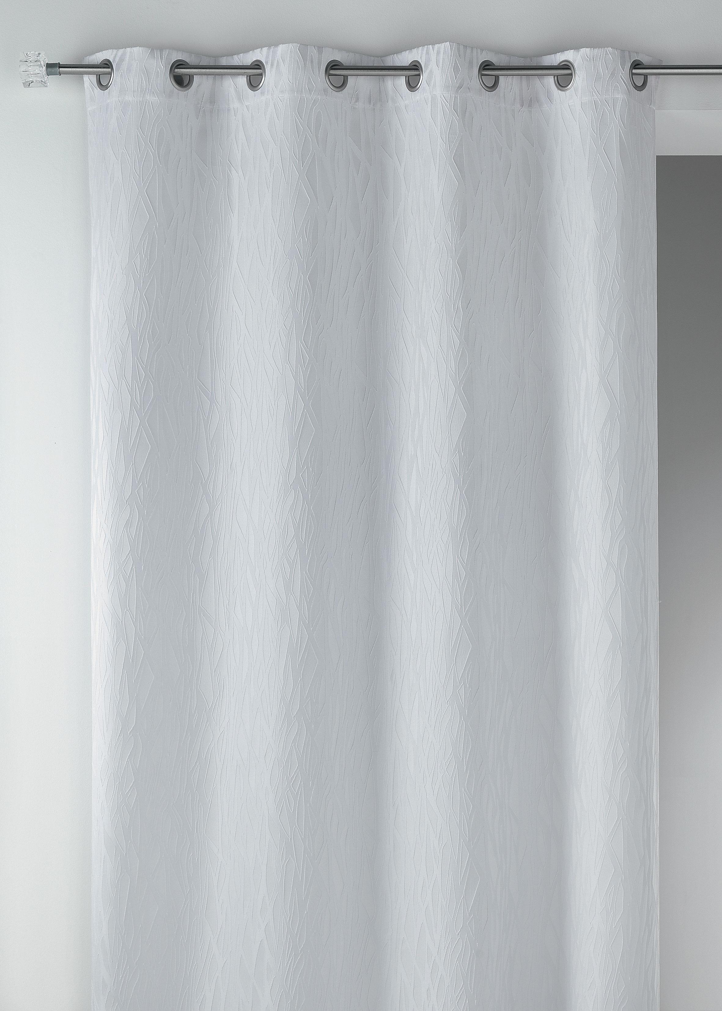 Cortina en jacquard fantas a blanco burdeos for Cortinas en blanco