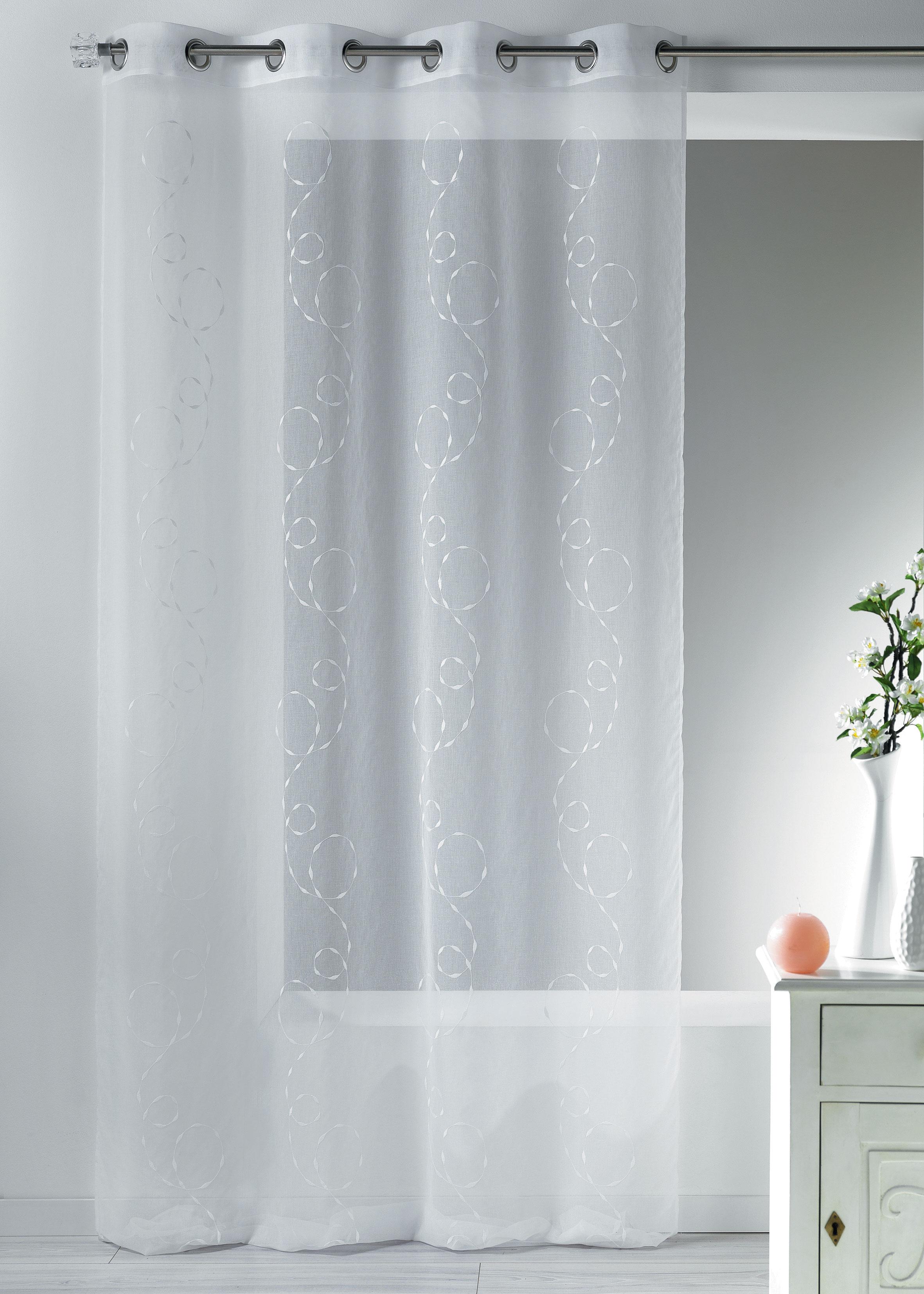 Visillo en estame a bordado fantas a blanco gris for Cortina visillo blanco