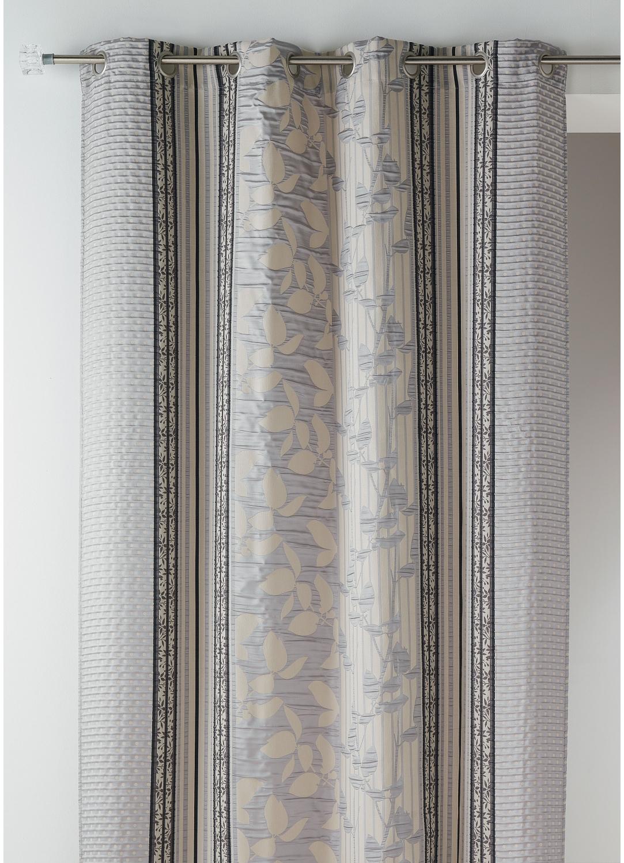 Rideau Bouchara en jacquard à rayures verticales fleuries (Gris)