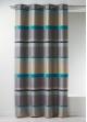 Rideau Bouchara en jacquard à rayures horizontales design  Bleu