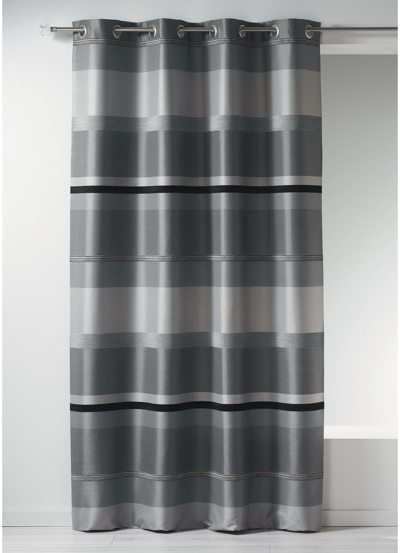 Rideau Bouchara en jacquard à rayures horizontales design (Gris)