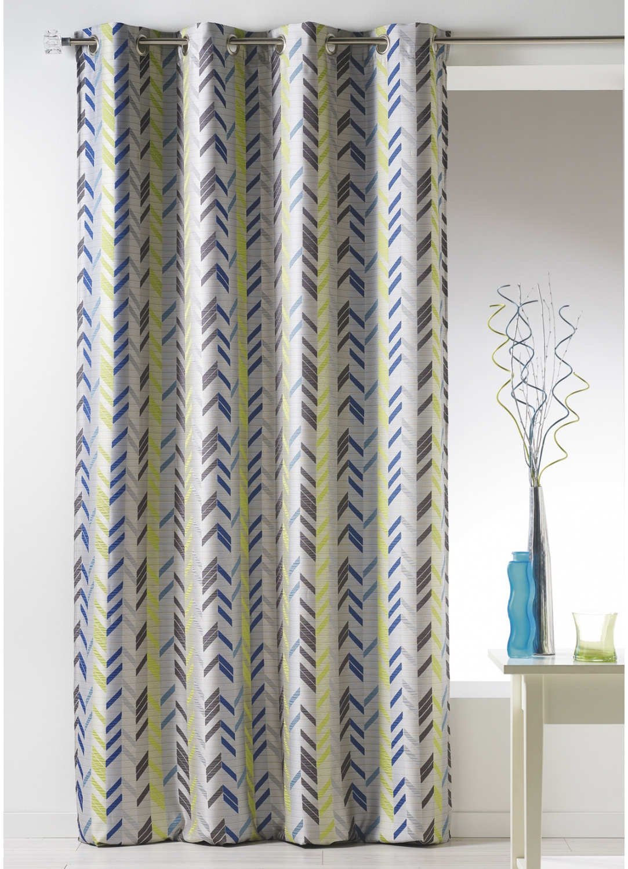 Rideau en jacquard à rayures verticales (Bleu)