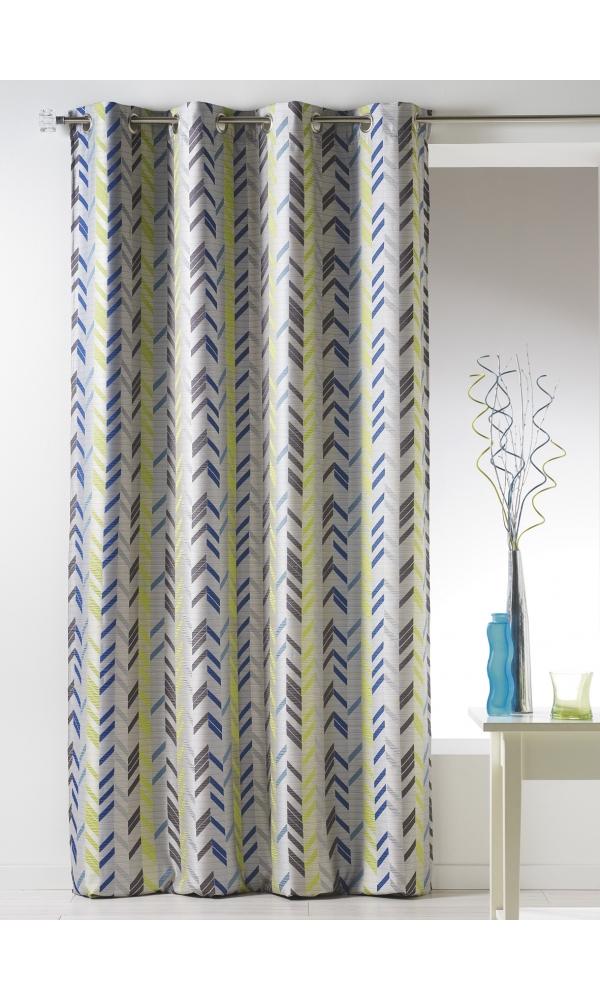 rideau bouchara en jacquard bleu bordeaux lin gris multicolore homemaison. Black Bedroom Furniture Sets. Home Design Ideas