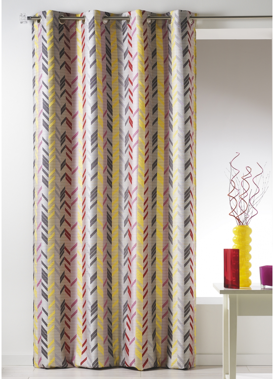 Rideau en jacquard à rayures verticales (Multicolore)