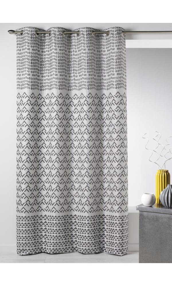 rideau en jacquard aux motifs fantaisies gris bleu lin brique homemaison vente en. Black Bedroom Furniture Sets. Home Design Ideas
