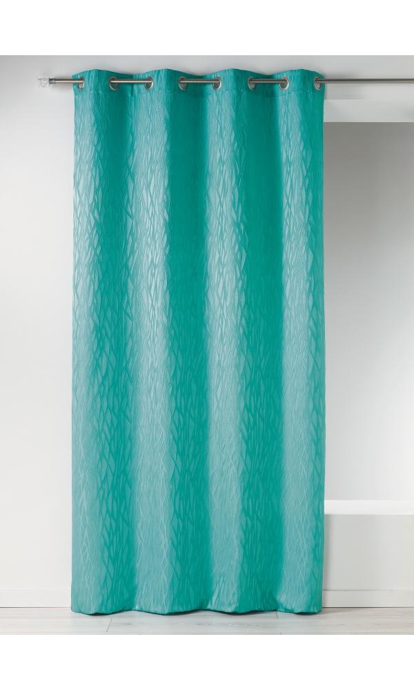 Rideau en jacquard fantaisie - Aqua - 135 x 260 cm