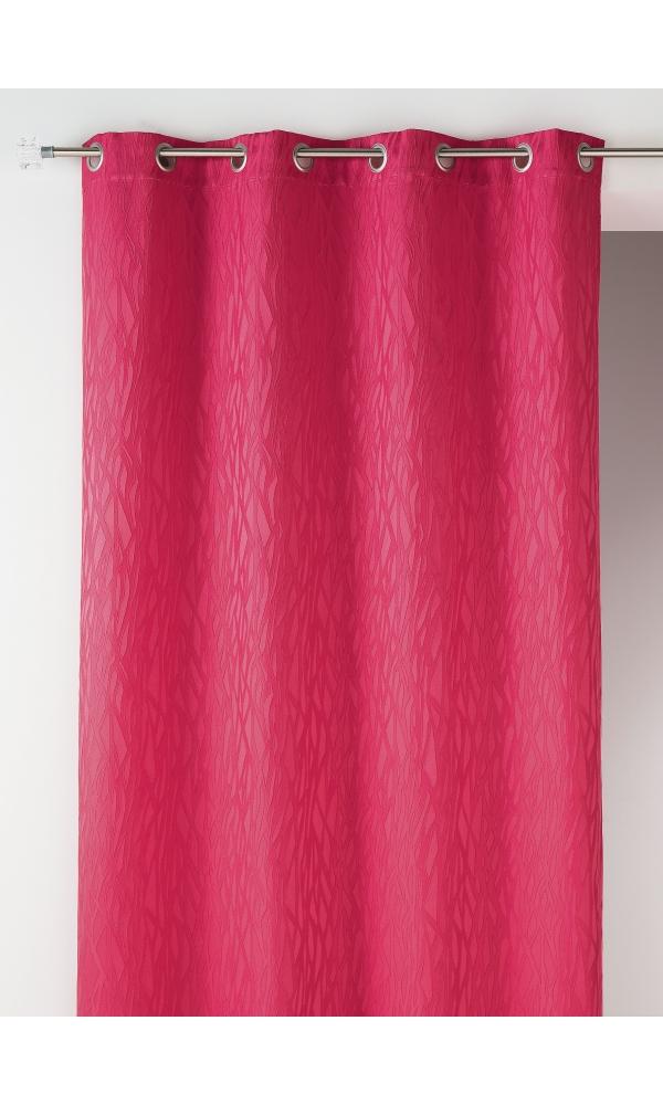 Rideau en jacquard fantaisie - Fuchsia - 135 x 260 cm