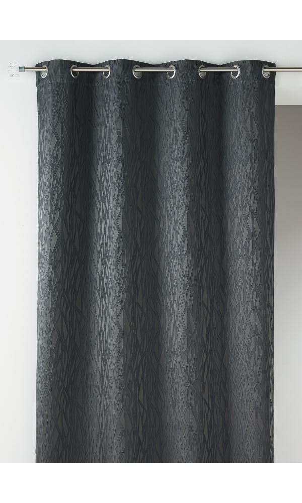 Rideau en jacquard fantaisie - Gris - 135 x 260 cm