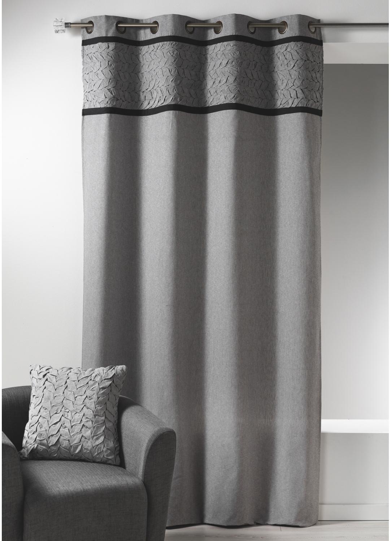 Rideau en toile de coton avec parement à plis gris (Gris)
