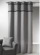 Rideau en toile de coton avec parement à plis gris Gris