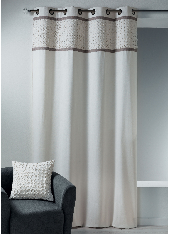 Rideau en toile de coton avec parement à plis ivoire (Ivoire)